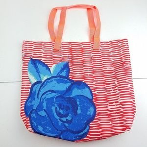 3/$20 LANCOME PARIS Coral Blue Flower Tote Bag